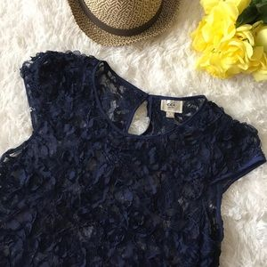 ECI New York Navy Blue Rose Lace Top